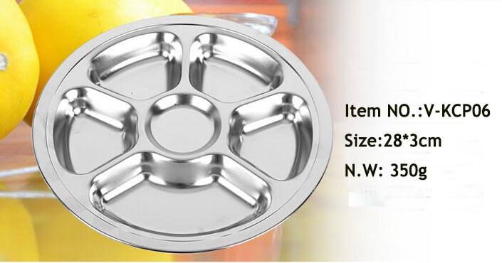 stainless steel divided lunch serving food tray